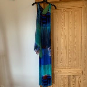 Long dress attached neck scarf